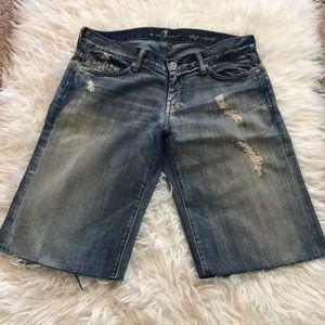 7 For All Mankind Distressed Dojo Bermuda Shorts